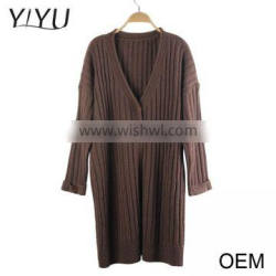 Hot sale fashion women autumn brown v-neck 3/4 long sleeve cardigan sweater