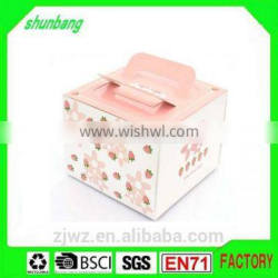 2015 foldable art paper pink color paper 4 inch cake box with handle