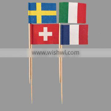 party cocktail wooden flag toothpicks