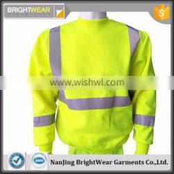 Fluorescent yellow long sleeve safety sweatshirt with reflective tape for Canada