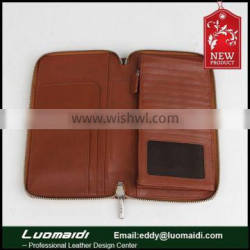 High-end top grain leather passport wallet, wholesale travel passport holder t from China manufactrue