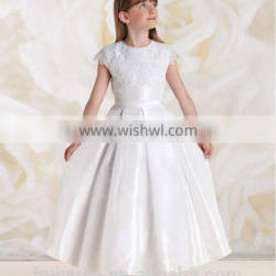 lovely white satin cap sleeve lace dress for wedding baby cloth