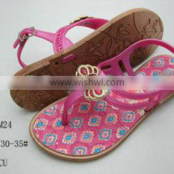 Hot Design and Best Price PCU Women Sandals with Flower for Summer 2014