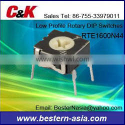 C&K Low Profile Rotary DIP Switches RTE1600N44 16POS HEX SHAFT 30V