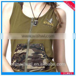 attractive design zippered hooded tank top vest for women