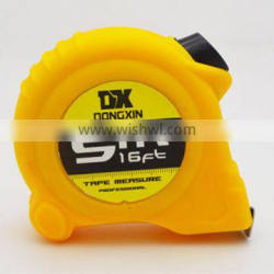 Factory new design measuring tape, plastic co-molded with soft rubber case