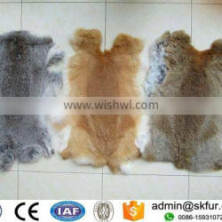 Big piece and soft raw color tanned rabbit skin