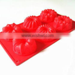 Ready-made FDA food grade non stick 6 cup microwave oven safe flower shape moldes de silicona