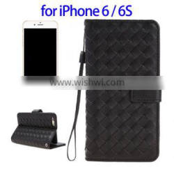 Grid Texture Horizontal Leather Case for iPhone 6, Case for iPhone 6s with Lanyard