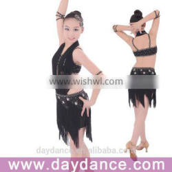 Black Fringe Salsa Competition Dress Hang Neck Girls Latin Dance Wear