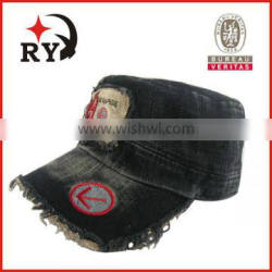 washed black flat caps with applique