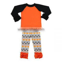 Wholesale western boutique clothing girls clothes cotton fashion black raglan shirt pumpkin ruffle pants baby halloween outfits