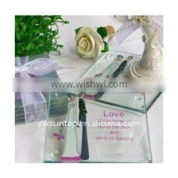 clear glass coasters with couple patterns wedding take away favors gifts