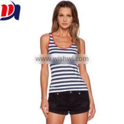 Contrast Trim Polyester Cotton Custom Gym Womens Stripe Tank Tops