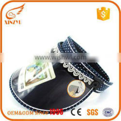 Newest cheap and cute promotional pvc sun visor cap with lace piping