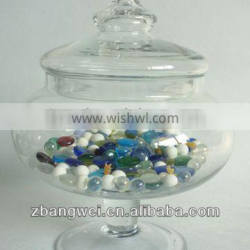 new style clear blown glass canister