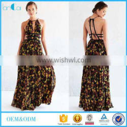 2016 Summer New Design Printed Sexy Ladies Backless Maxi Dress