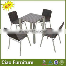 stackable rattan dining side table and chairs