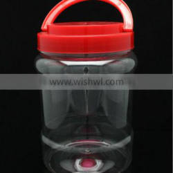 800g cheap round clear plastic candy jar with hand lift lid