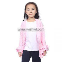 Girl Vintage Clothing Pink Ruffle Cotton Kintted Cardigan