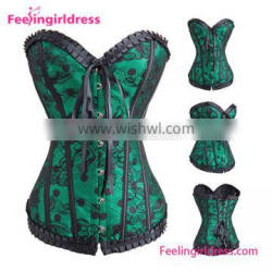 Fashion Green Lace Pattern Waist Overbust V Neck Fast Shipping Cheap Women Body Corsets