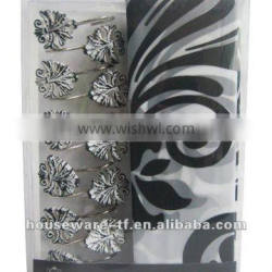 leaves series shower curtain with matching resin hook set