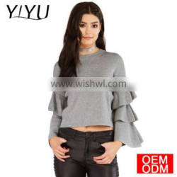 2017 Fashion Ruffles Sweater Women Casual Butterfly Sleeve Solid Gray Pullovers Preppy Cute Loose Winter Sweaters