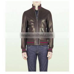 Fashion Leather Jacket Brown Bomber 2