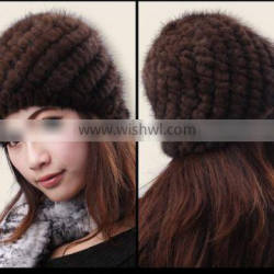 YR428 Europe Belong Fashion Women Headwear Mink Knit Fur Winter Hat