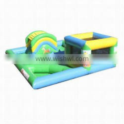 Inflatable Playzone with Curved Ballpond and Den with Artwork
