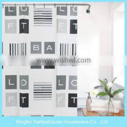 Modern English Words Number Printed PEVA Shower Curtain