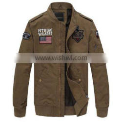 New Brand 2015 Hot Sales Out door Bomber Jacket Men Army Green Jackets Stand Collar Patched Badg