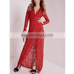 High quality plunge lace maxi evening dress red