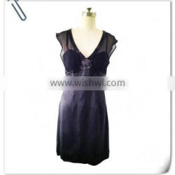 Lady's silk satin with silk georgette contrast black evening dress with beading