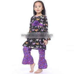 bulk Wholesale boutique girl clothing floral ruffle Long Sleeve owl Top Matching purple Pants lovely Cotton baby clothing sets