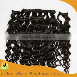 Style Deep Wave 100%human hair brazilian color 1A# Clipin hair extensions