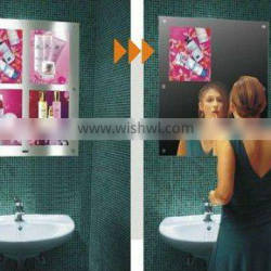 hot selling high quality sliver and golden super slim led photographic, artwork ,advertising magic mirror with sensors in hotel
