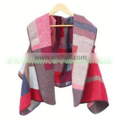 JYS151 Red grid knitted poncho pashmina scarves and shawls