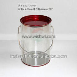 Plastic PET Buckets Top And Bottom With Metal Lids
