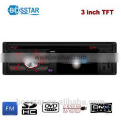 single din fixed panel car dvd vcd cd mp3 mp4 player with 3inch TFT screen Bluetooth fm radio receiver rear view system