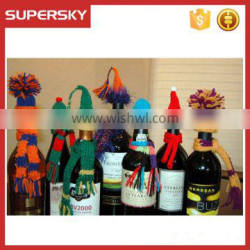 A-857 Handmade Christmas Knitted Wine Bottle Decoration Hat and Scarf Wine or Bottle Toppers Knitting Pattern Wine Bottle Cozy