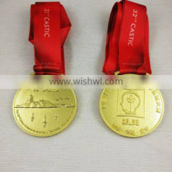 Top quality custom double sides gold awarding souvenir metal medal with red lanyard
