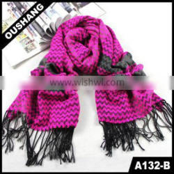 A132-B Wavy Line Striped Colorful Scarves