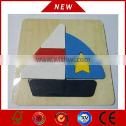 Wholesale Custom Kid Learning Toy Wooden Vessel Shape Puzzle
