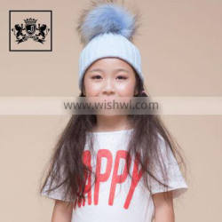 New Fashion Wholesale Kids Funny With Big Genuine Raccoon Fur Ball Winter Knit Hat Baby Crochet