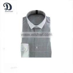mens cotton shirts check design with white narrow collar
