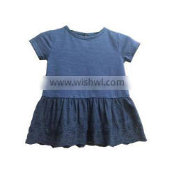 2018 new design 0-24 month toddle dark blue lace bottom dress