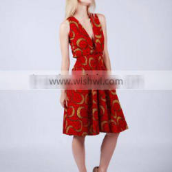 sleeveless red plunging kitenge short dress designs ethnic print african clothing