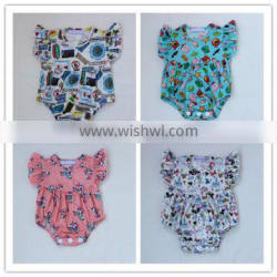 baby girl ruffle summer cartoon printing rompers infants bodysuit little girl rompers with buttons