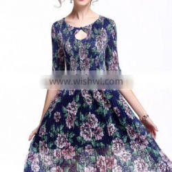 2017 wholesale lace print dress for lady retro dress summer